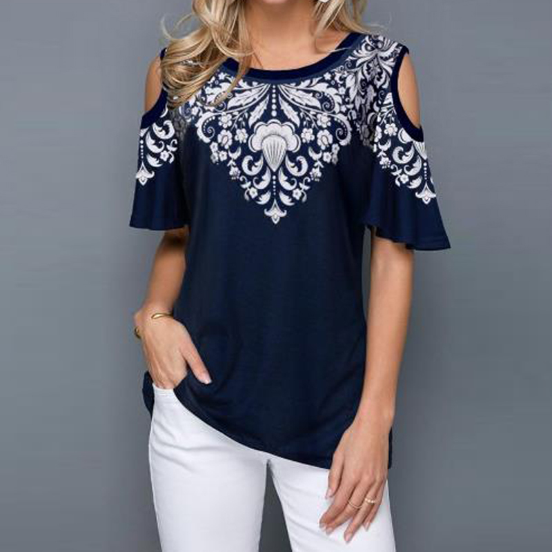 2020 New Arrival Women T Shirt Summer Casual Print Large size Tops O-neck Short Sleeve Off Shoulder Tops Ladies T-shirt Size 5XL image
