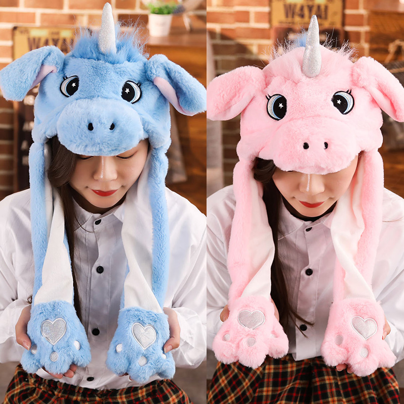 Valentine's Day Gift Toy Plush-Hat Playtoy Bunny Rabbit-Gift Down Kids Cute For Ear-Up Unicorn Hat Animal Hat Funny Up Down Hat