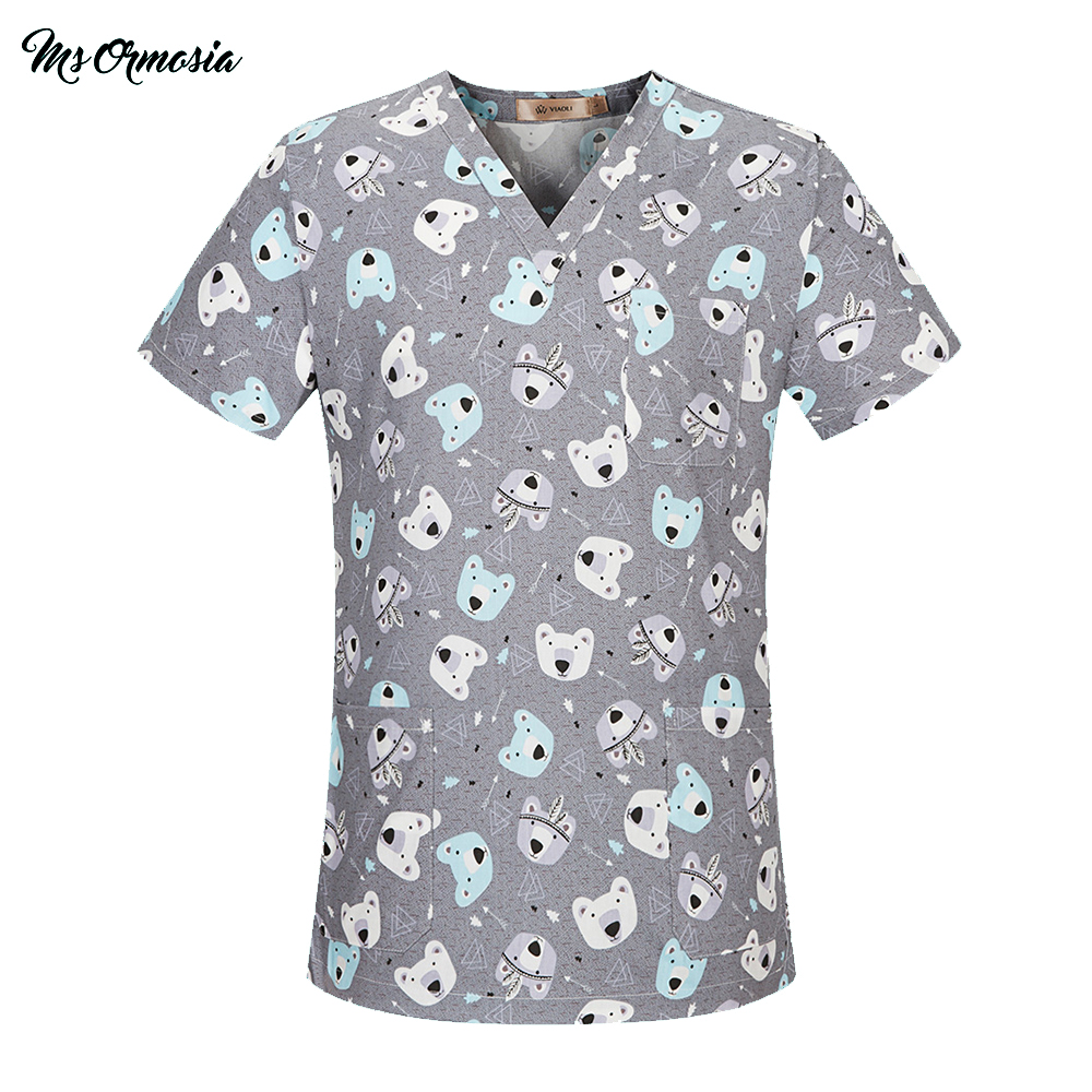MSORMOSIA Medical Clothing Women Men Cotton Hospital Nursing Uniforms Scrubs Top Pant Clinical Surgical Suit Medical Costumes
