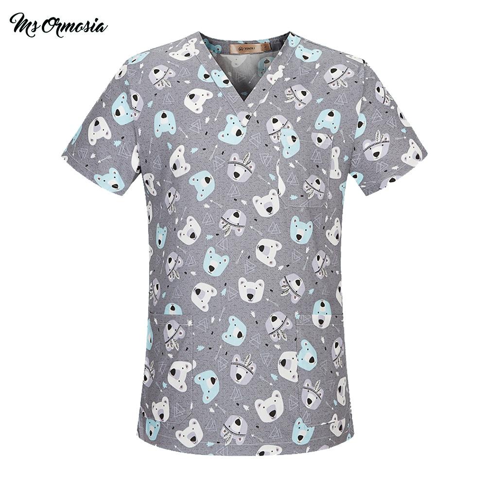 MSORMOSIA Medical Clothing Women Men Cotton Hospital Nursing Uniforms Scrubs Top Pant Clinical Surgical Suit Medical Costumes