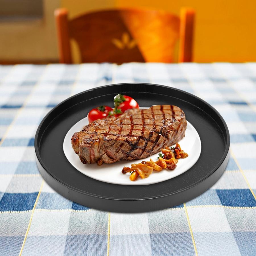 Деревянный круглый черный нескользящий поднос для чая, сервировочный столик для еды, поднос для китайского чая для дома, кухни, офиса-2