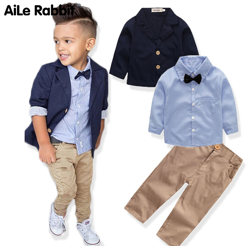 Boys Clothing Gentleman Sets Jacket Shirt Pants 3pcs/set Kids Bow Children's Suits Coat Tops Stripe Apparel K1