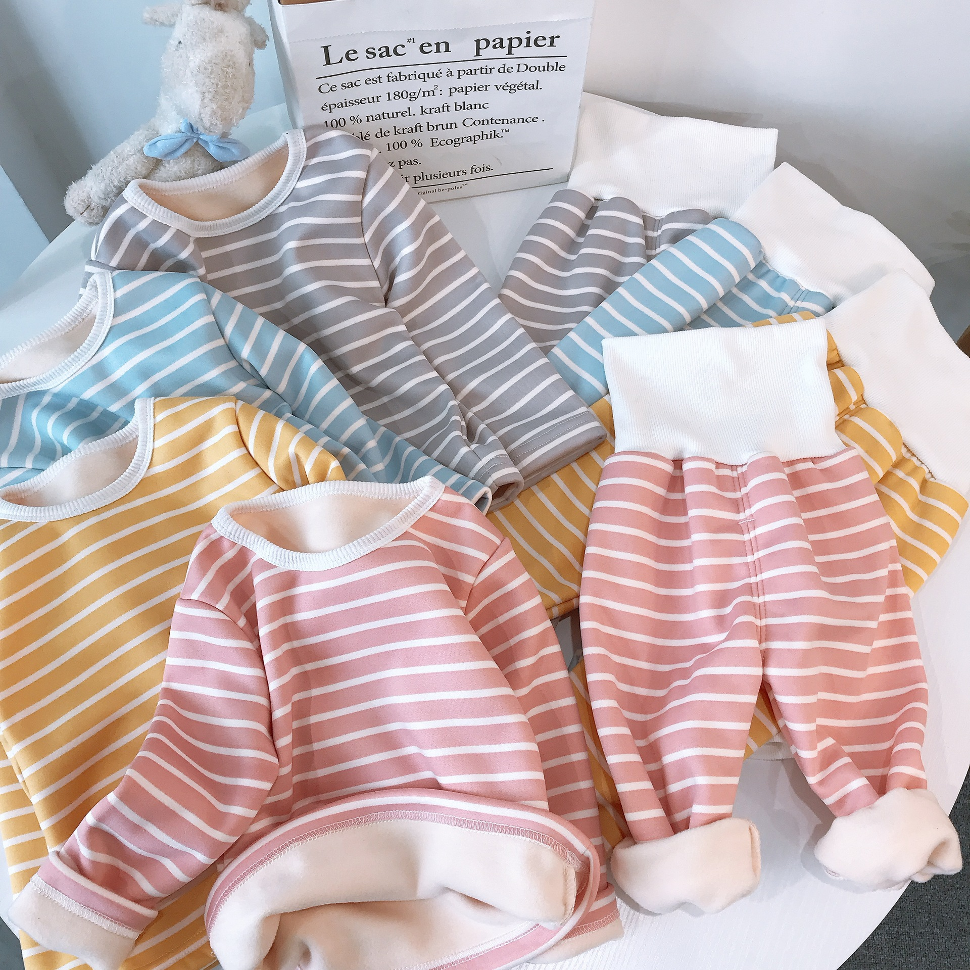Children Pajamas Sets Baby Boys Girls Clothing Sweatshirt Waist Pants Set Toddler Warm Autumn Winter Outfits Kids Suit Clothes 6