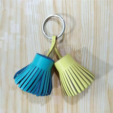 Two-color Bag Hanging Accessories Metal Car Key Chain Versatile Genuine Leather Tassel Bag Part  Women Bag Charm Pendant Girls
