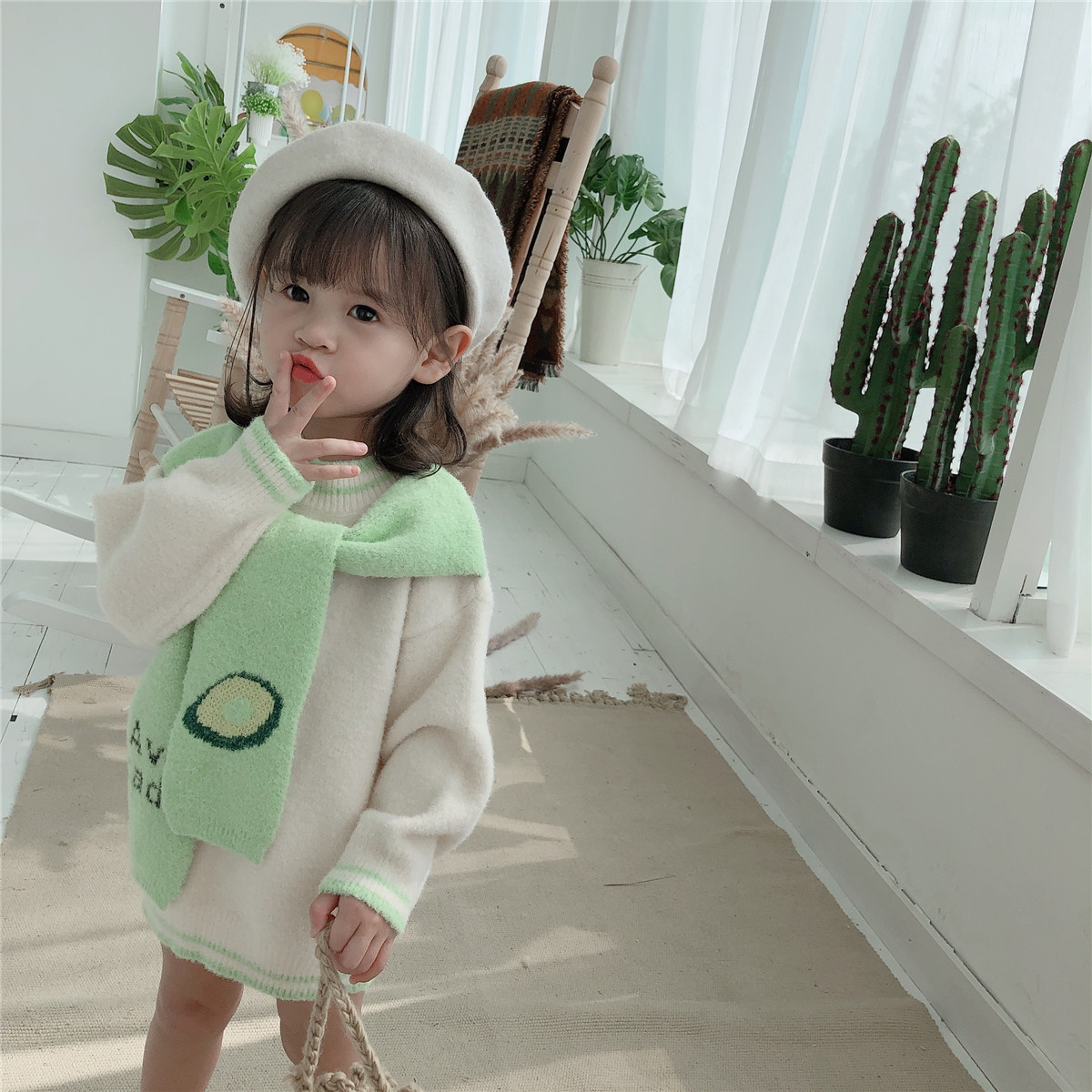 Fall and Winter 2019 New Girl Fruit Scarf Sweater Dresses Toddler Kids Long Sleeve Casual Fashion Pullover Chenille Clothing