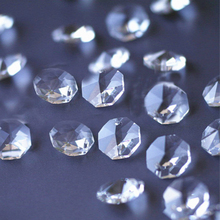 Glass Prism-Beads Chandelier-Parts Crystal Octagon Clear-Color 14mm for 100pcs-1000pcs