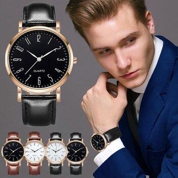 1596#-6 Casual watch Business Belt Mens Watch Quartz Часы Мужские Leather Strap Clock