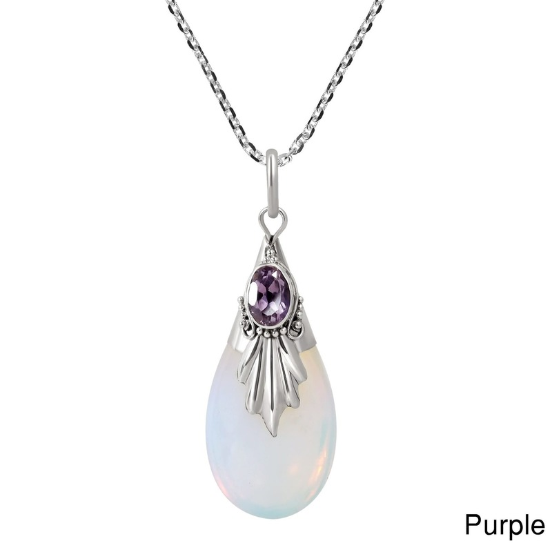 Natural Moonstone 925 Silver Jewelry Pendants Necklaces For Women Water Drop Amethyst Ruby Obsidian Pendant Anniversary Gifts