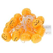 LED Lamps Halloween Ghost Festival Smiley Pumpkin 20 LED Battery Box USB Lamps Holiday Decoration Light Warm Yellow lights