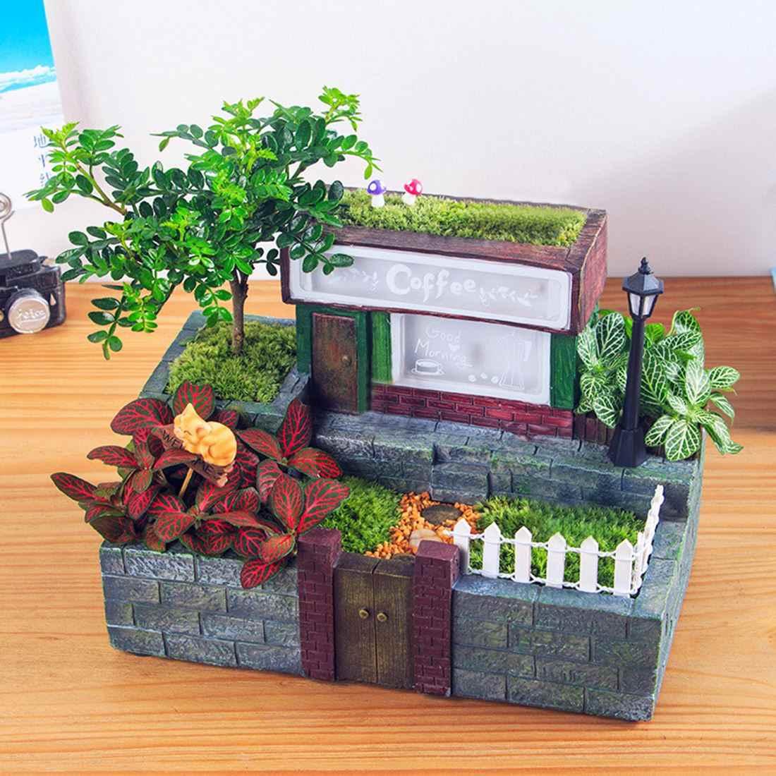 1 個クリエイティブ田園樹脂プラント花壇多肉植物ポットプランター盆栽ボックス植物ベッドライトグレース花屋