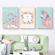 Nordic Style Flamingo Decoration Painting Wall Decor Picture Restaurant Murals Animal Childrens Bedroom