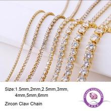 Feilang AAAAA 100cm/pcs Round Crystal Zircon Claw Chain Crystal Clear Rhinestones Luxury For DIY Jewelry Clothing