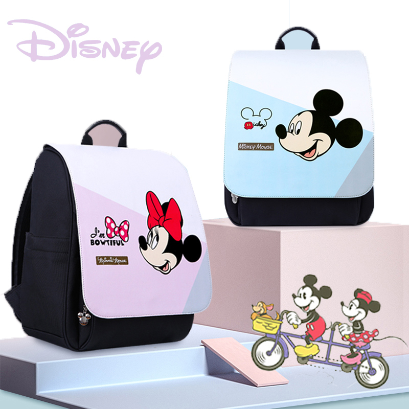 Disney Mickey Minnie USB Diaper Bag Large Capacity Mummy Maternity Nappy Bag Baby Travel Backpack For Baby Care Waterproof