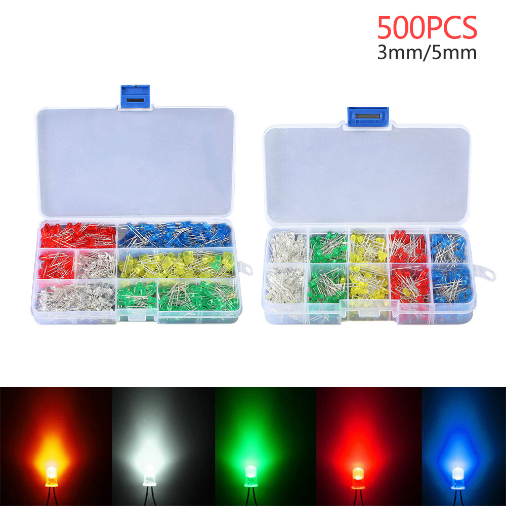 NEW 500pcs LED Light Emitting Diodes Round Head 2Pin Assorted Diode Multicolor