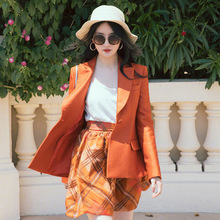 2019 Autumn New Star Same-style Orange Small Suit Women Notched Single Breasted Jackets and Coats
