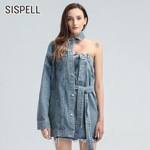 Женское джинсовое платье sispell асимметричное с отложным воротником
