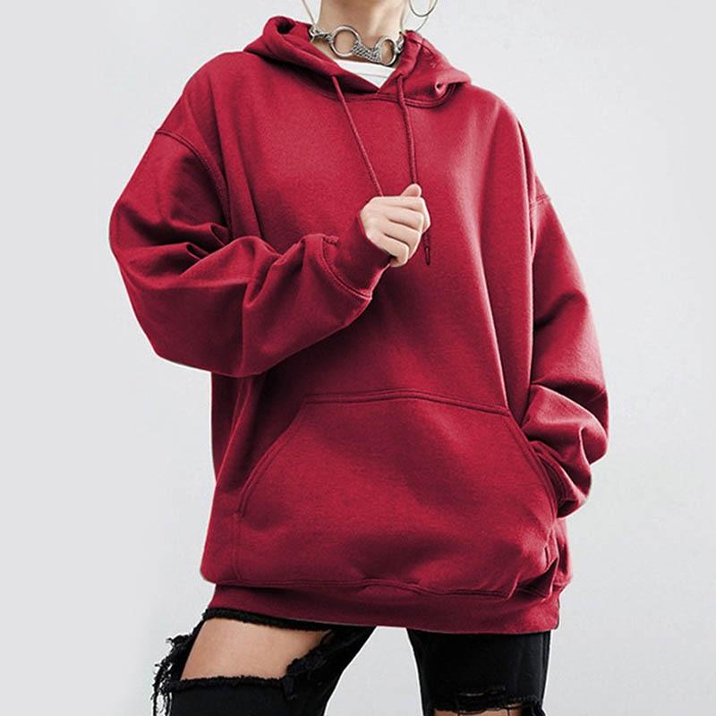 Casual Hoodie Women Long Sleeve Solid Pullover Hoodies Tops Ladies 2019 New Antumn Winter sweatshirt kpop in Hoodies amp Sweatshirts from Women 39 s Clothing