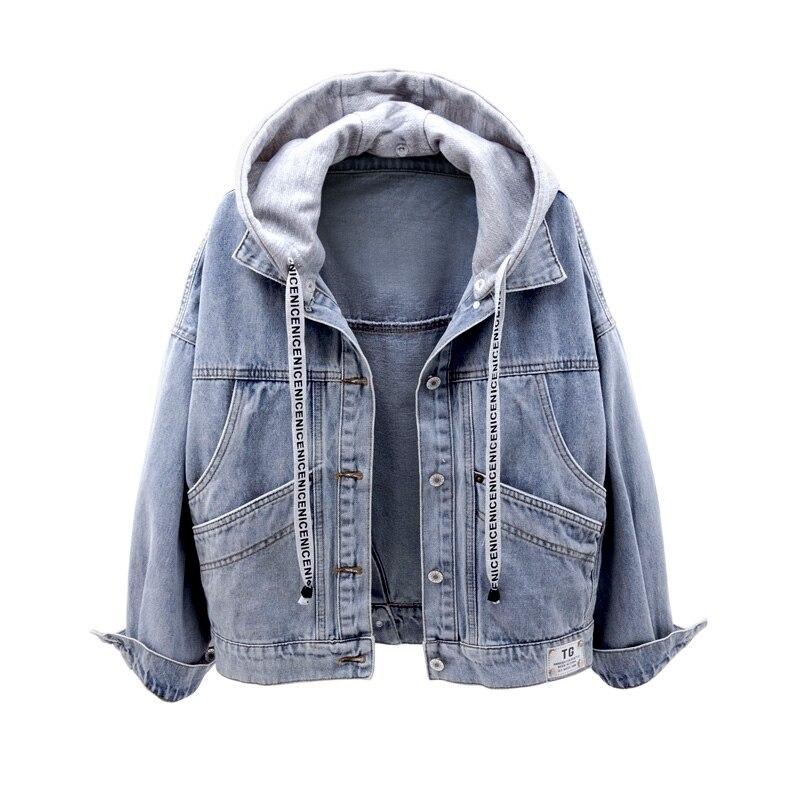 Spring Autumn Women Hooded Denim Jacket Female Stylish Hoodie Single Breasted Pocket Streetwear Vintage Plus Size Jeans Coat
