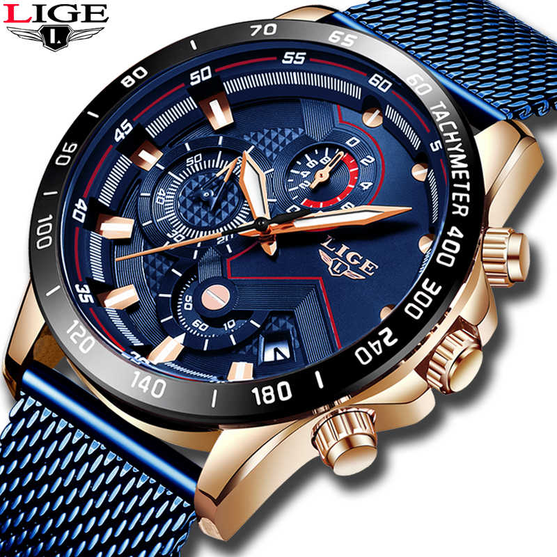 LIGE azul Casual malla Correa moda cuarzo oro reloj para hombre relojes marca superior reloj impermeable de lujo