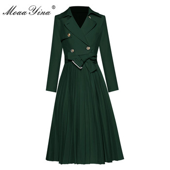 MoaaYina Fashion Designer dress Spring Autumn Women's Dress turn-down collar Long sleeve Double breasted lace-up Pleated Dresses moaa yina fashion designer runway dress spring summer women dress turn down collar lantern sleeve prom party elegant dresses