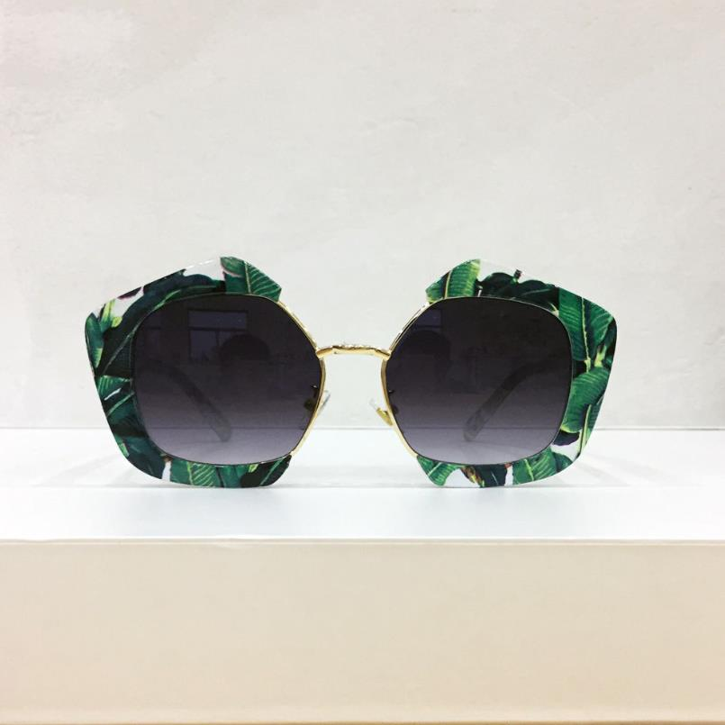 2020 Vintage Polygonal Sunglasses Women Green Banana Leaf Sun Glasses Fashion Square Eyeglasses UV400 Female Gafas De Sol