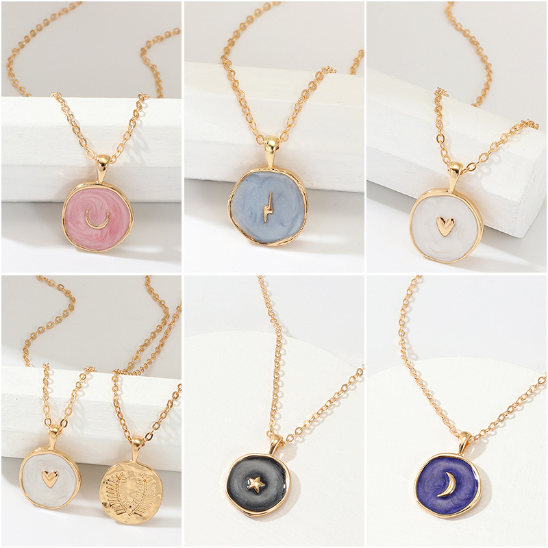 5PCs Fashion Silver Tone Hollow Lettered Pattern Knot Round Pendant