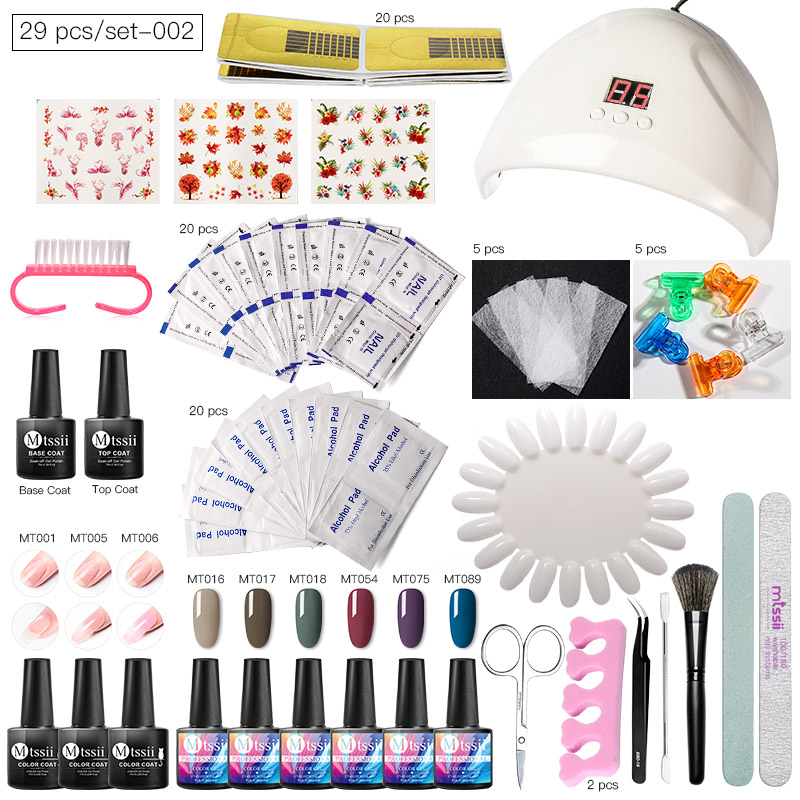 Nail Set UV LED Lamp Dryer With 6pcs Nail Gel Polish Kit Soak Off Manicure Tools Set Electric Nail Drill For Nail Art Tools