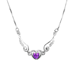 Elegant Angel Wing Purple Cubic Zirconia Pendant Necklace for Lady Girls Jewelry Gifts