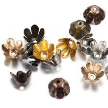 50pcs/lot Tibetan Antique Bronze Lotus Flower Metal Bead End Caps Spacer Apart Beads Cap For Jewelry Making Findings Accessories