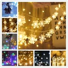 Гирлянда со снежинками светильник светодиодный Рождественский Декор для дома подвесная гирлянда Рождественская елка Декор Орнамент Navidad Рождественский подарок год