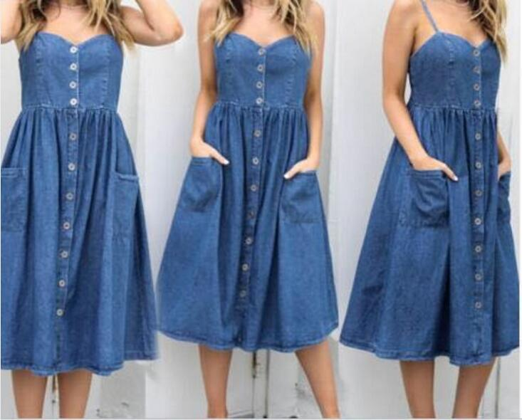 Women Denim Dress New Sling denim single-Breasted dress Fashion style Pockets Button women dresses
