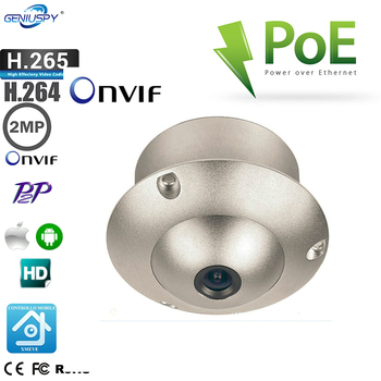 Wide Angle Lens Mini 1080P Flying Saucer Dome H.265 H.264 ONVIF Security Surveillance CCTV IP Camera POE UFO Camera For Elevator