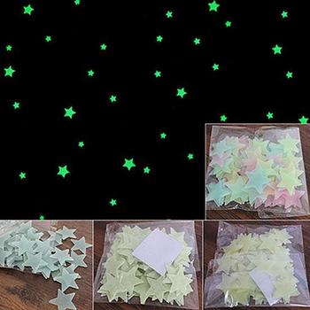 100/40Pcs 3D Glow in the Dark Stars Windows Ceiling Wall Stickers Cute Kid's Room Decoration Living Home Bedroom Decor image
