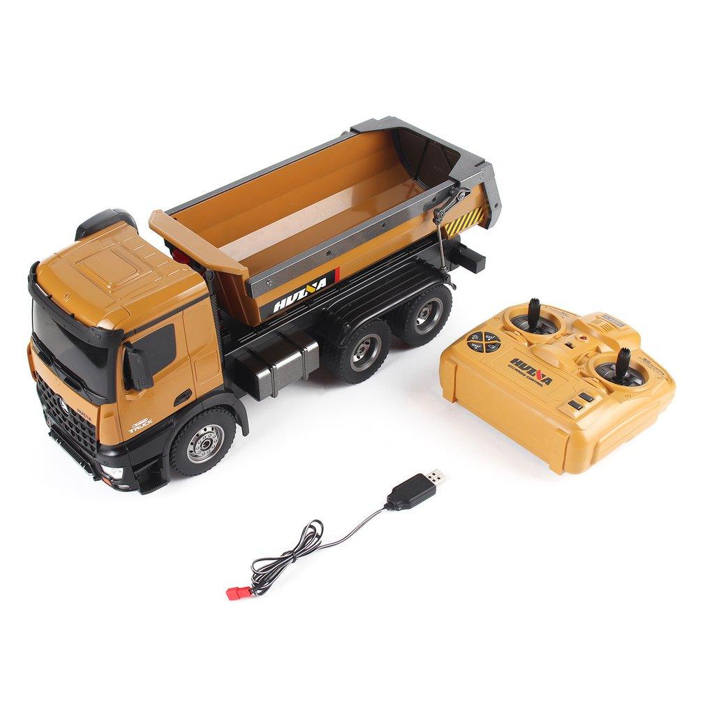 HUINA TOYS 1573 <font><b>1/14</b></font> 10CH Alloy RC Dump Trucks Engineering Construction Car Remote Control Vehicle Toy RTR RC Truck Gift for Boy image