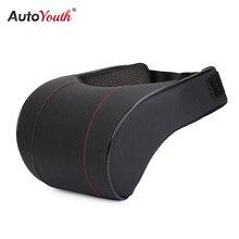 AUTOYOUTH almohada de espuma viscoelástica para el cuello del coche, reposapiés de cuero PU para asiento de coche, reposacabezas, alta calidad, color negro, 1 unidad