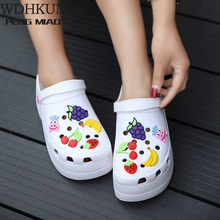Summer Women Croc Clogs Platform Garden Sandals Cartoon Fruit Slippers Slip On F