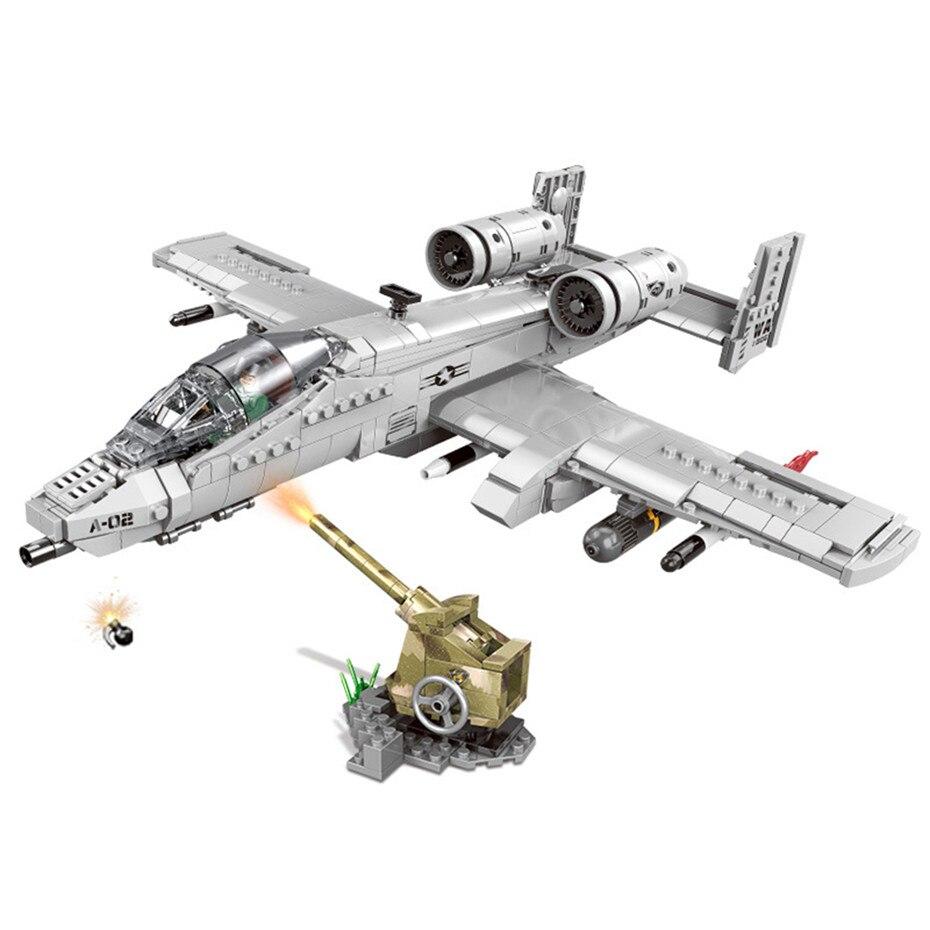 961PCS Military Series The A10 Fighter Set Building Blocks Bricks Plane Model