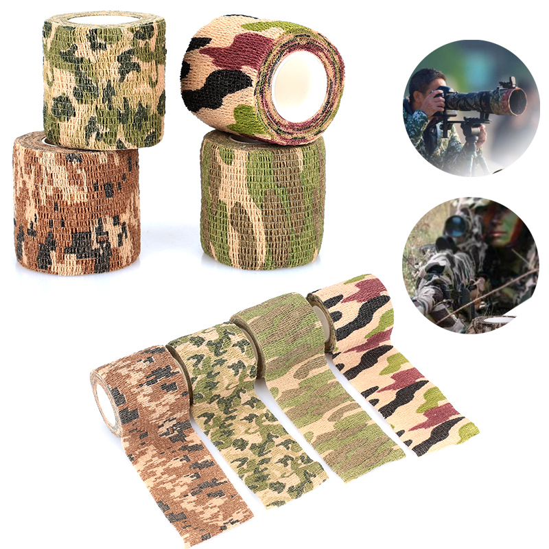 Camo Tape Adhesive Fabric Self-Adhesive Camping 4.5m Non-Woven Hunting Flashlight Wrap Rifle Tape Stretch Bandage Roll
