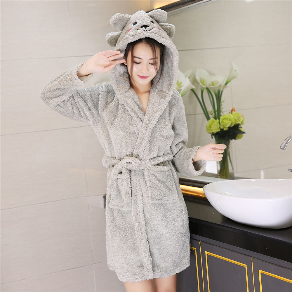 Women Cute Cartoon Gray Kimono Robe Gown Winter Warm Sleepwear Nightgown Casual Soft Hooded Bath Gown Belt Pajama Sleepwear