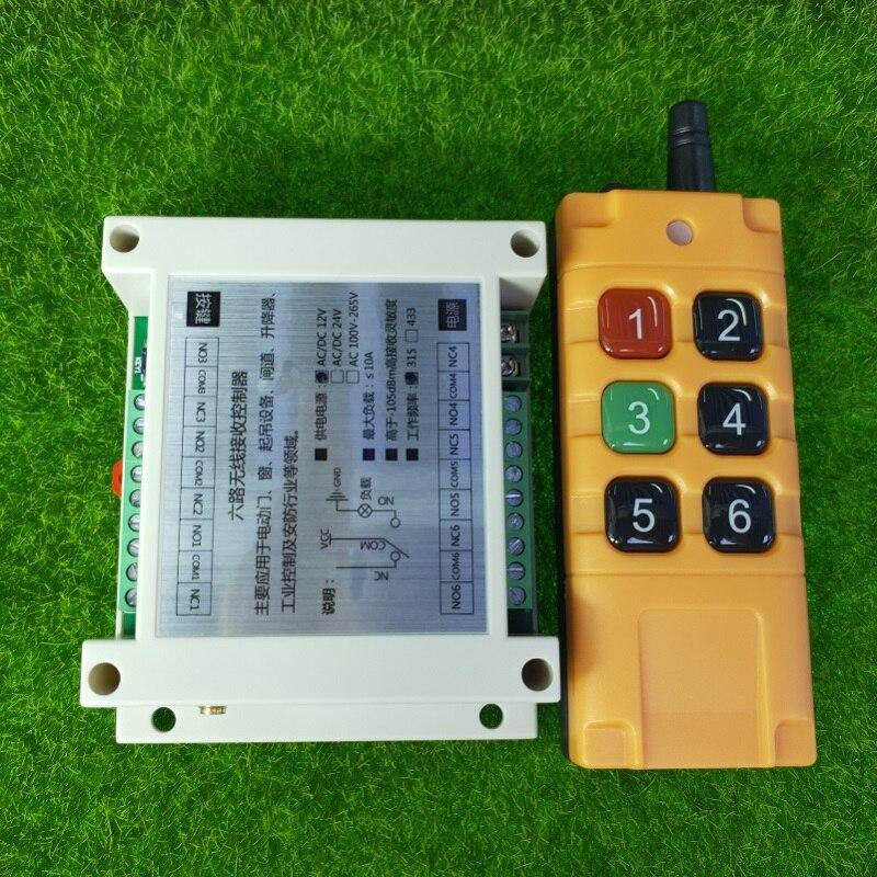 Uniwersalny DC 12V 24V 36V 48V 10A 6CH 30A przekaźnik RF radio bezprzewodowe pilot 433 mhz lub 315mhz przemysłowe/rolnicze