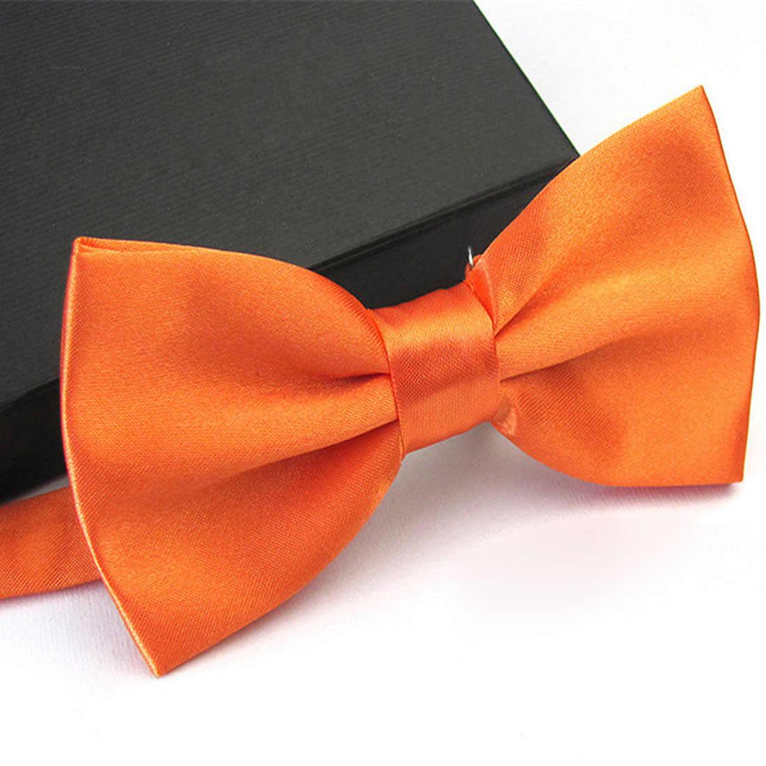 Moda erkekler smokin klasik kravatlar katı renk kelebek papyon düğün parti papyon yay basit damat kravat yüksek kalite