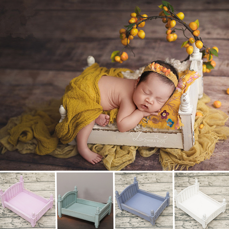 Baby Photo Props Retro Folding Bed Wood Baby Photography Studio Accessories Flokati Newborn Photography Baby Posing Bois Props
