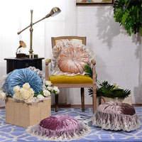 Elegant lace European Luxury LACE CAKE cushion Thick satin Throw Pillow Cushion Round Fabric Wheel Pumpkin Seat Cushion