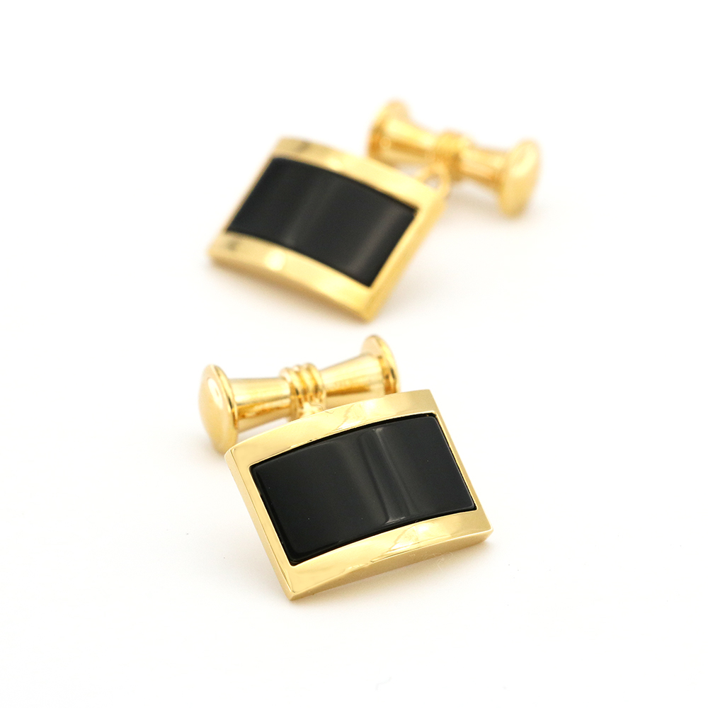 Chain Design Luxurious Black Stone Cufflinks Quality Brass Material Golden Color Cuff Links Wholesale & Retail
