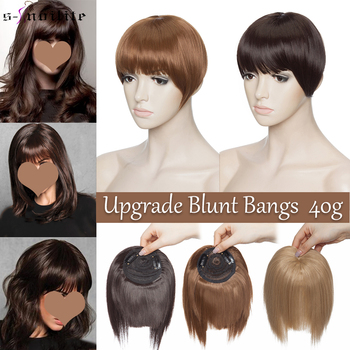 SNOILITE Upgrade Fake Bangs Black Brown Grey Clips In Blunt Bang Women Synthetic Hair Neat Front False Fringe Hairpiece - discount item  29% OFF Synthetic Hair