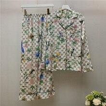 Spring Women Silk Pajama Sets Satin Pyjamas Fashion Sleepwear Pant Two Pieces Female Homewear Printe