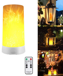 LED Flame Effect Light USB Rechargeable Table Lamp with 4 Modes Waterproof Flickering Lantern with Remote for Party Home Bar