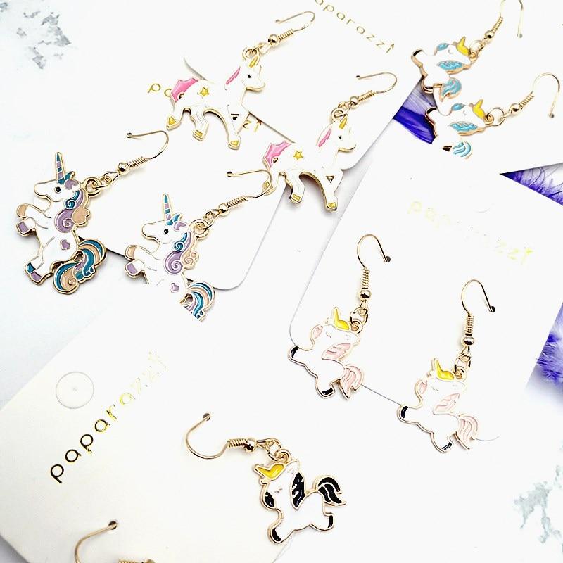 Купить 2020 new cute unicorn dripping earrings baby resin epoxy art