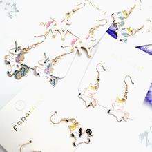 2020 new cute unicorn dripping earrings baby resin epoxy art