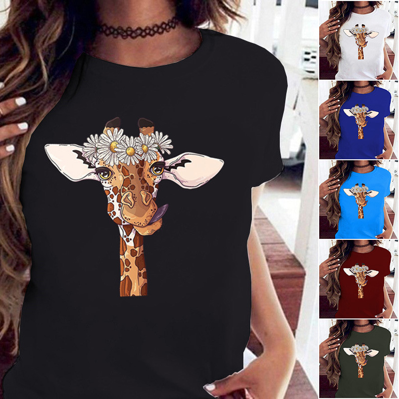 Summer Women T Shirts Funny Giraffe Print T Shirt Women Tshirts Casual Fashion Short Sleeve Tops Tees Hipster Harajuku Shirt